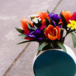 Still Life by Nancy Bowen - Digital Art Abstract ( vase, painterly, flowers, multicolored, sidewalk )