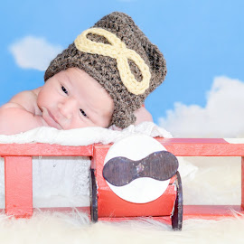 Pilot by Jennifer Brooke - Babies & Children Babies ( airplane, baby, cute, newborn,  )