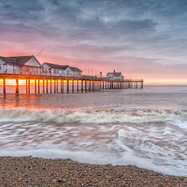 Southwold Glory by Ian Pinn - Landscapes Sunsets & Sunrises ( southwold, groyne, sussex, wave, pier, beach, sunrise )