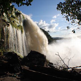 Waterfall @ Canaima by Marc Zangger - Landscapes Waterscapes ( venezuela, canaima national park, dust, waterfall, salto hacha )