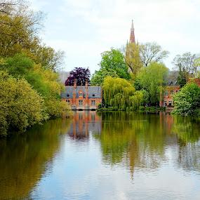 Bruges by Dee Haun - City,  Street & Park  City Parks ( city scape, steeple, park, bruges, lake,  )