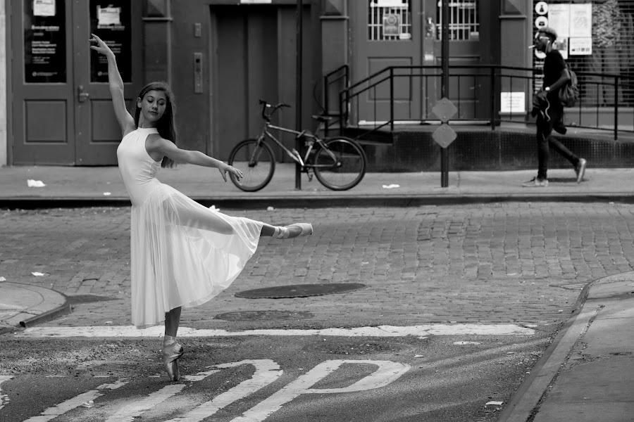 Dancing In The Streets by VAM Photography - Black & White Street & Candid ( b&w, woman, art, places, nyc, dancer, street photography,  )