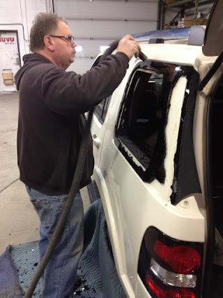 Cleaning and preparing vehicle for new window