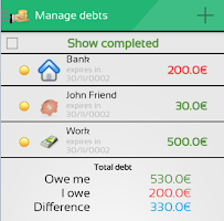 Screenshot of MoneyMe, Expenses manager
