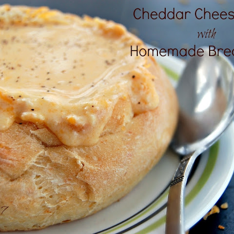 Cheddar Cheese Soup with Homemade Bread Bowl