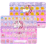 Pink Glitter Unicorn Emoji Keyboard Theme Icon