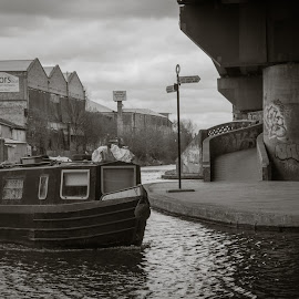 life on the birmingham canals by Kylie Martin - Transportation Boats ( canal boat, under spaghetti junction, boat, canal )