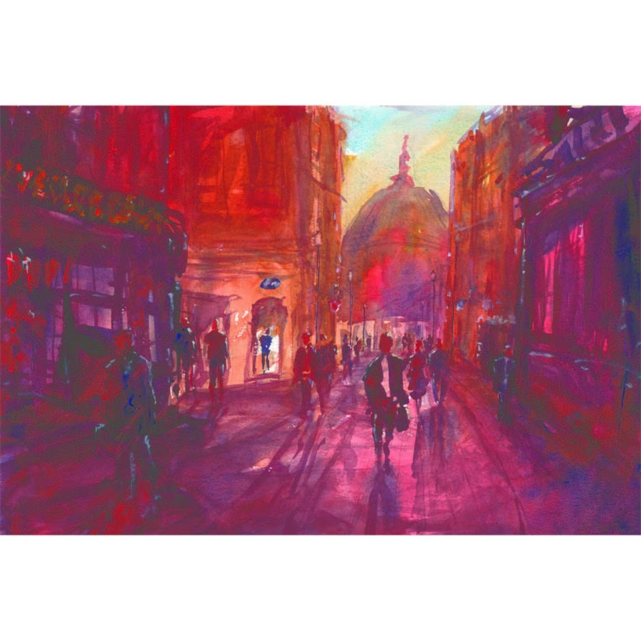 London St Pauls art original watercolour painting