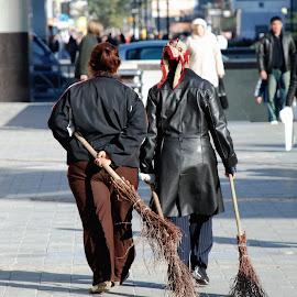 Brooms by Tomasz Budziak - City,  Street & Park  Street Scenes ( broom, portraits of women, people, city )