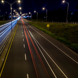 Car trails by Dominic Thibeault - City,  Street & Park  Night
