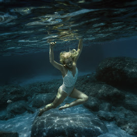 This wonderful world by Dmitry Laudin - People Fashion ( water, blue, underwater, woman, swim, white, dive, ocean )