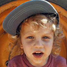 boy by Moshe Friedline - Babies & Children Child Portraits ( child, superman, boys, tractor, boy, portrait )