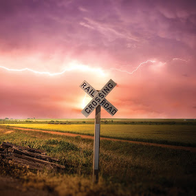 Lightning Road by Glenn Patterson - Landscapes Weather ( sign, field, lightning, sky, colorful, weather, storm, pretty )