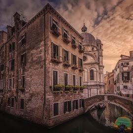 Rio del Miracoli by Ole Steffensen - City,  Street & Park  Neighborhoods ( venezia, church, rio del miracoli, chiesa santa maria di miracoli, venice, bridge, boat, canal, italy )