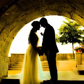 Golden moment by Jurica Žumberac - Wedding Bride & Groom ( love, wedding photography, sunset, wedding, wedding dress, beauty, bride and groom, bride, groom, shadows, golden hour )