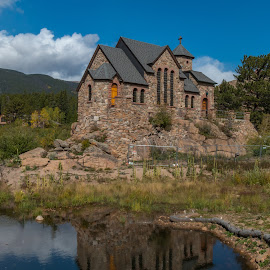 by Kathy Suttles - Buildings & Architecture Other Exteriors ( reflections, church, suttleimpressions, rocky mountain national park, worship, estes park )