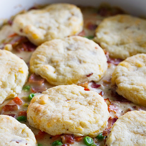 Chicken and Bacon Pot Pie with Bacon Cheddar Biscuits