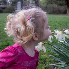Time to smell the flowers by Ruth Sano - Babies & Children Children Candids ( little girl, daffodills, pink, springtime )