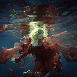 Supernova by Dmitry Laudin - People Fashion ( water, reflection, red, girl, underwater, blue, swim, woman. lace. dress, fabric, darkness, light, diving )