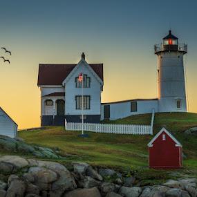 Nubble Light at Sunrise by Ed & Cindy Esposito - Buildings & Architecture Public & Historical ( atlantic ocean, maine, lighthouse, york, nubble light, island )