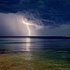 Thunderstorm by Marko Lengar - Landscapes Waterscapes ( lightning, thunderstorm, see, electrical storm, storm )