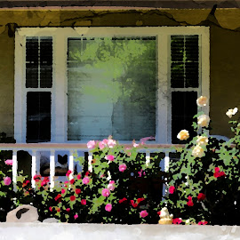 Spring porch by Leslie Hunziker - Buildings & Architecture Homes ( blooms, architecture, flowers, porches, homes, spring )