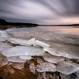 Broken ice by Robertas Rimenas - Landscapes Beaches ( clouds, lagoon, winter, cold, ice, long exposure, lake, lithuania, kauno marios, broken ice )