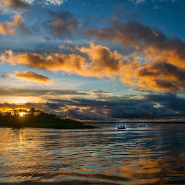 Upper Amazon Sunset 1 by Gary Aidekman - Landscapes Sunsets & Sunrises ( clouds, peru, sunset, boats, river, amazon )