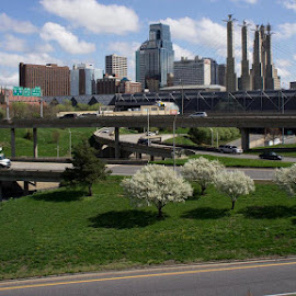 Spring day in KC by Bruce Sidener - City,  Street & Park  Skylines