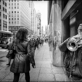 Horn by Pedro Penduko - Black & White Street & Candid ( black and white, jazz, musician, new york, new york city, street photography )