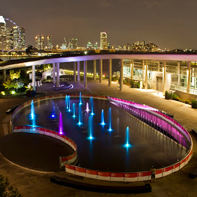 Marina Barrage, Singapore by Amit Aggarwal - City,  Street & Park  Fountains ( fountain, marina, barrage, singapore, , city at night, street at night, park at night, nightlife, night life, nighttime in the city )