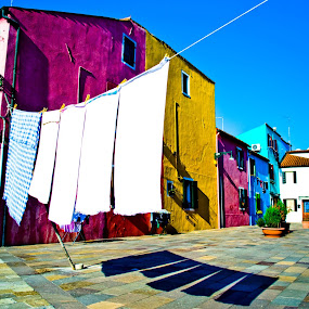 Burano Laundry by Leanne Kordis - Buildings & Architecture Other Exteriors ( burano, venice, italy, laundry, colours )