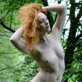 Nymph in the Glade by DJ Cockburn - Nudes & Boudoir Artistic Nude ( natural light, nude, nature, woman, forest, redhead, ivory flame, standing, portrait )