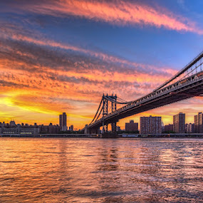 Manhatton Bridge Sunset by Wenjie Qiao - City,  Street & Park  Skylines ( brooklyn bridge, dumbo, manhattan )