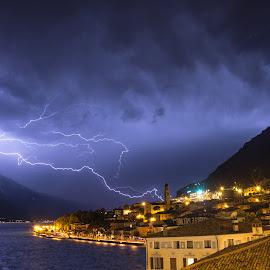 Lightning over Lake Garda by Luka Milevoj - Landscapes Weather ( lombardy, lightning, garda, thunderstorm, lake, landscape, italy )