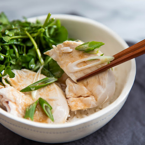 Juicy and Tender Poached Chicken With Watercress and Miso Dressing