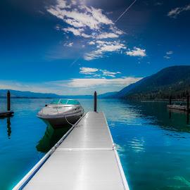 boat by David Gilmour II - Transportation Boats ( water, blue, summer, lake, boat, dock )
