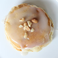 Banana Macadamia Nut Pancakes with Coconut Syrup