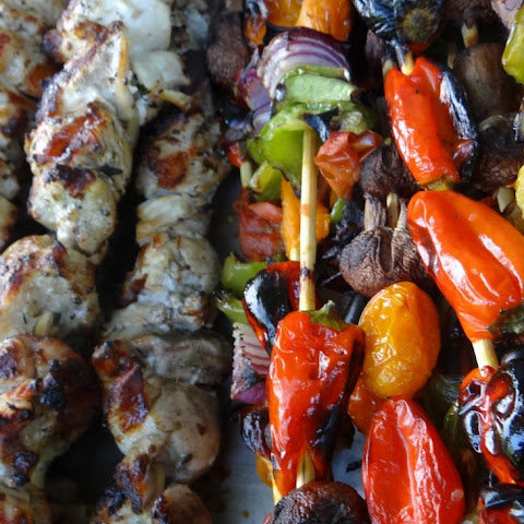Grilled Greek Souvlaki and Vegetable Skewers