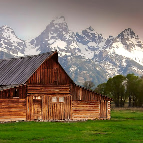 The Barn and the Tetons by Ken Smith - Buildings & Architecture Other Exteriors ( barn, mormon row, landscape, grand tetons )