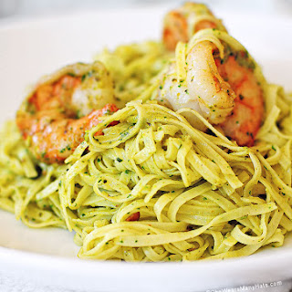 Shrimp Pasta with Cilantro Pesto