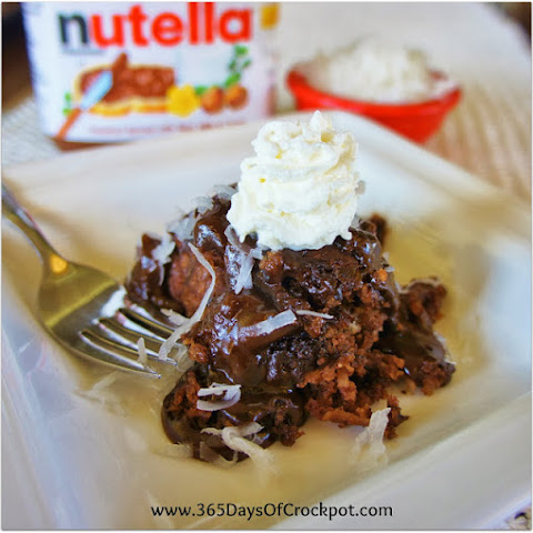 Slow Cooker Nutella-Coconut Pudding Cake