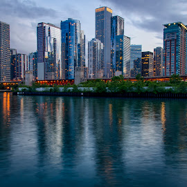 Chicago Skyline by Sarthak Bisaria - City,  Street & Park  Skylines ( water, skyline, chicago river, buildings, long exposure, chicago, evening )