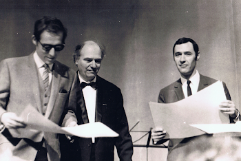 With Olivier Messieaen and Claude Samuel, Messiaen Piano Competition, Royan, 1968