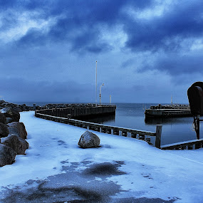 Blue Lundeborg by Ingrid Dendievel - Landscapes Waterscapes ( lundeborg, harbor, sow, blue, funen, sea, denmark )