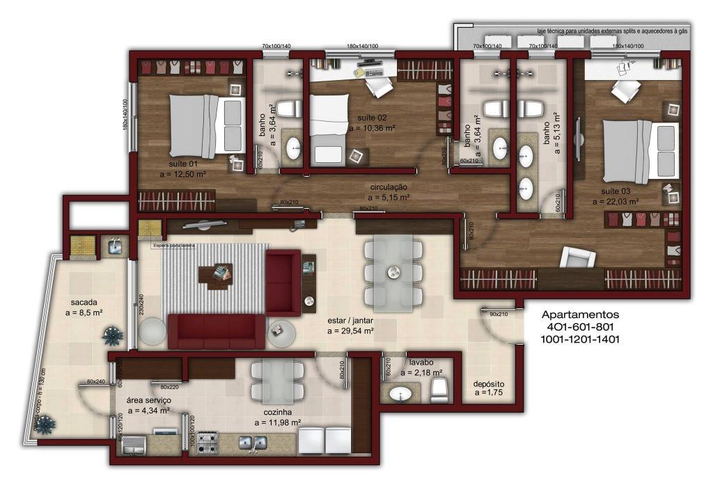 Apartamento de 3 dormitórios em Medianeira, Santa Maria - RS