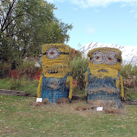 Power, Glory, Bannana! by Lenora Popa - Artistic Objects Other Objects ( holiday, minions, hay sculptures, fall, halloween )