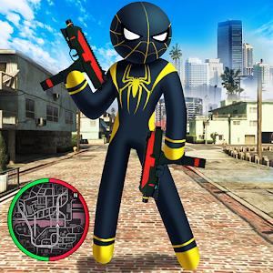 Spider Stickman Rope Hero black Venom : Gangstar For PC (Windows And Mac)