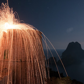 Fire On  by Inma  Monte Picante - Abstract Light Painting ( es vedra, light painting, stars, pirate tower, long exposure )