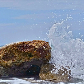 { Waves Crashing on Boulders ~ Midday ~ 31 July }  by Jeffrey Lee - Nature Up Close Water ( { waves crashing on boulders ~ midday ~ 31 july } )